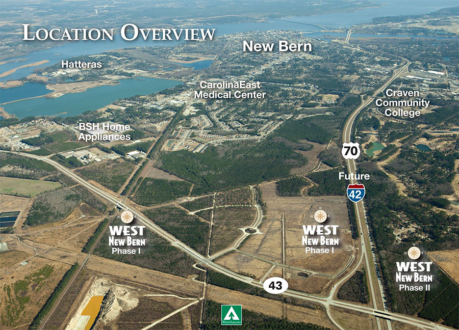 west new bern map overview